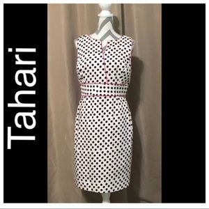Tahari Size 10 White Pink Polka Dot Sheath Dress